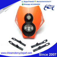 Motocross front fairing with headlight For Universal Dirtbike Off Road Head Lights H3 12V Supermoto Orange Head Lamp For EXC SX