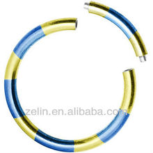 16 Gauge Blue Yellow Anodized Titanium segment ring free lip nose rings