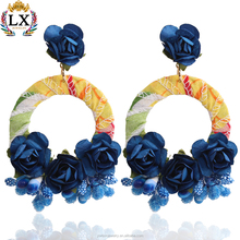 ELX-00668 fabric wrapped round circle dangle earrings artificial flower rose shaped accessories for making earrings