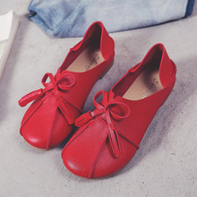 New Design Spring Autumn Beautiful Flat Soft Bowknot Ladies Casual Leather Shoes