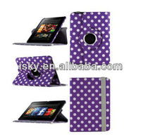 tablet case Angle 360 Stand Case For Amazon Kindle Fire HD 7 - Purple Polka Dot