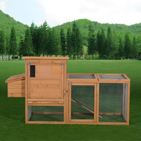 Pawhut Outdoor Wooden Chicken Coop Hen House w/Run