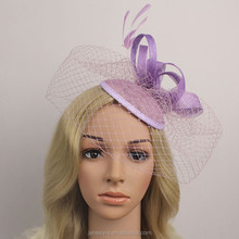 New Arrival Hair Accessories Sinamay Base Fascinator Hat With Veil