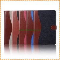 High quality Jean flip wallet leather case with stand for ipad mini 4