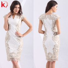 Direct Supply from Factory Nice Lace Appliqued Knee Length Mother of The Bride Dress