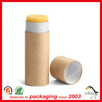 Wholesale eco paper empty lip balm containers with push up function
