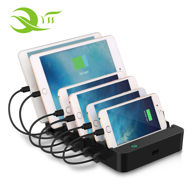 60W Micro phone charger docking station 6 ports intelligent desktop USB charger