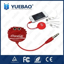 2016 latest earphone audio music splitter with bottle cap and customized logo