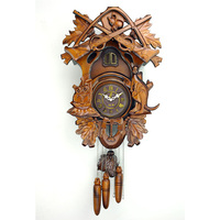Vintage Hourly Chime Wood Wall Quartz Cuckoo Clock