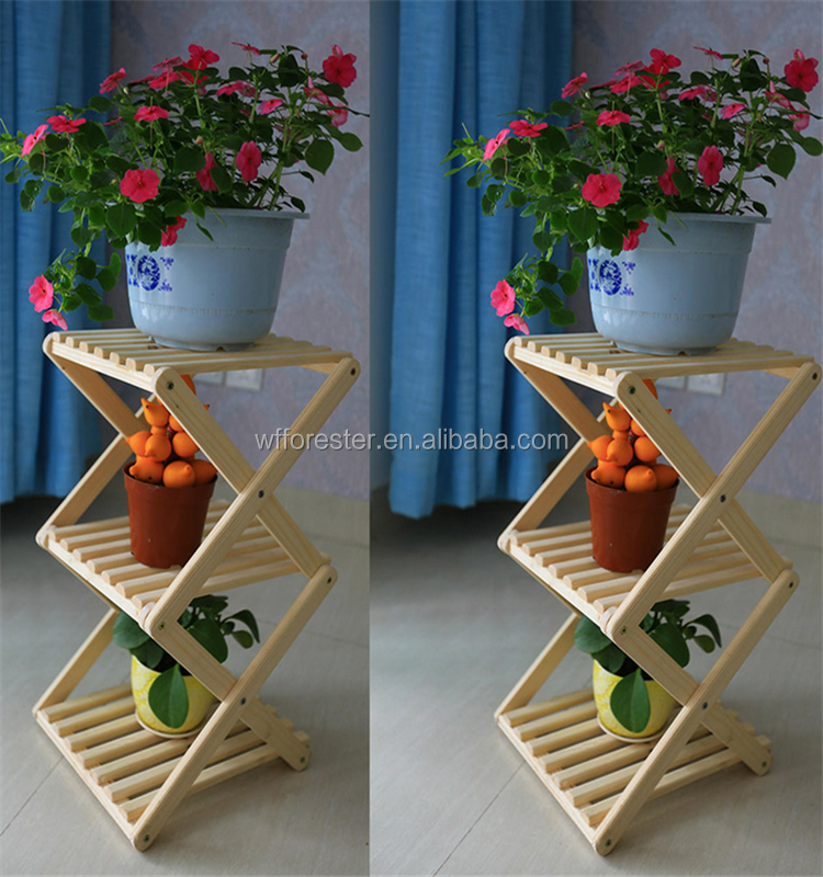 customized wood folding plant flower pot display stand