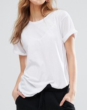 2017 Wholesale Custom Women Cheap Scoop Neck White Blank T Shirt Ladies Casual Sports Organic Cotton Loose T Shirt Top