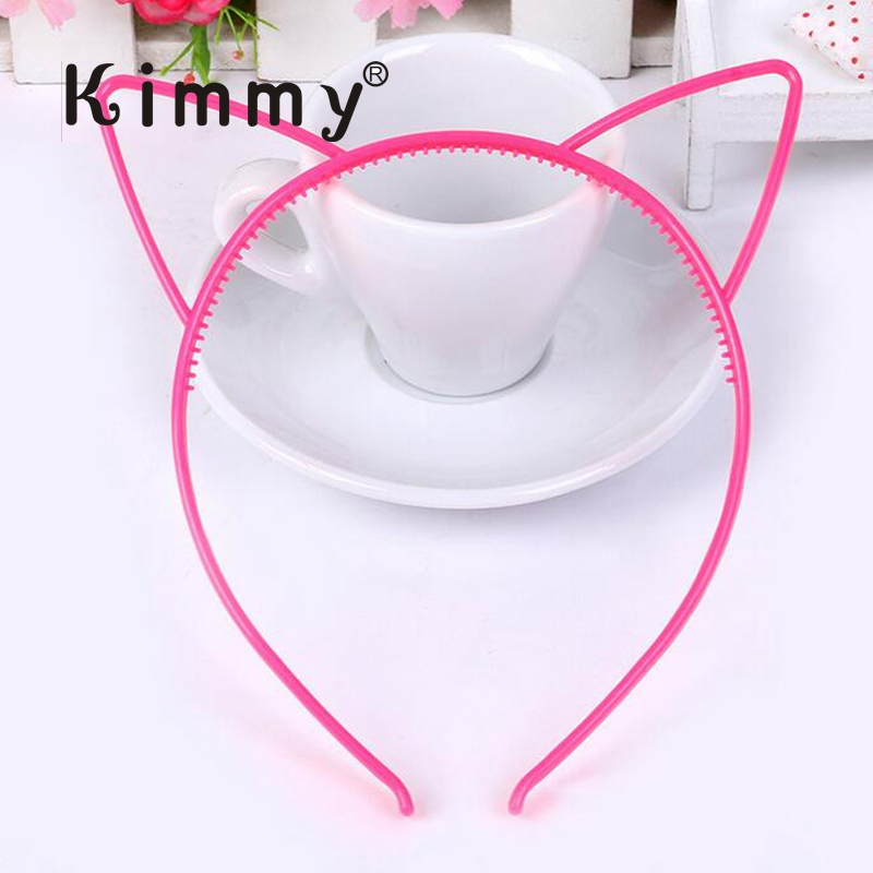 Sweet Pink Narrow 0.6cm cat ears Plastic <strong>Headband</strong> , Hair band with teeth