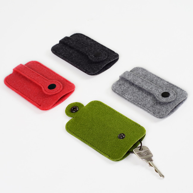 China Wholesale pure color bus card sleeve simple style felt keyring