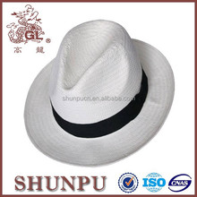 customized and fashion bulk white paper straw panama cowboy hat