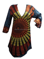KTLK-12 Without Collar mandala Printed Pakistani designer long Kurtis for girls V shape neck From Jaipur Wholesale lot