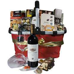 Wine, Chocolate and Cheese Deluxe Basket Gift sets