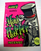 mad hatter incense 10g cloud 9 spice bags / herbal incense bags / ziplock potpourri incense bags