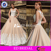 Latest Design White Lace Appliqued Champagne Tulle Wedding Dress 2016