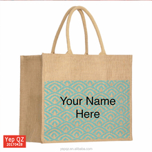 High quality natural color customized size printed wholesale shopping tote Premium jute Bag