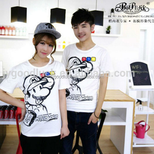 Peijiaxin Casual Style Hot Selling Printed Mario Love Couple T shirt Design