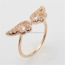 New Year Excellent White Zircon Setted Rose Gold Plated Silver Angel Wing Adjustable Ring