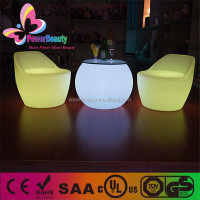 plastic housing outdoor coffee small led glowing round table
