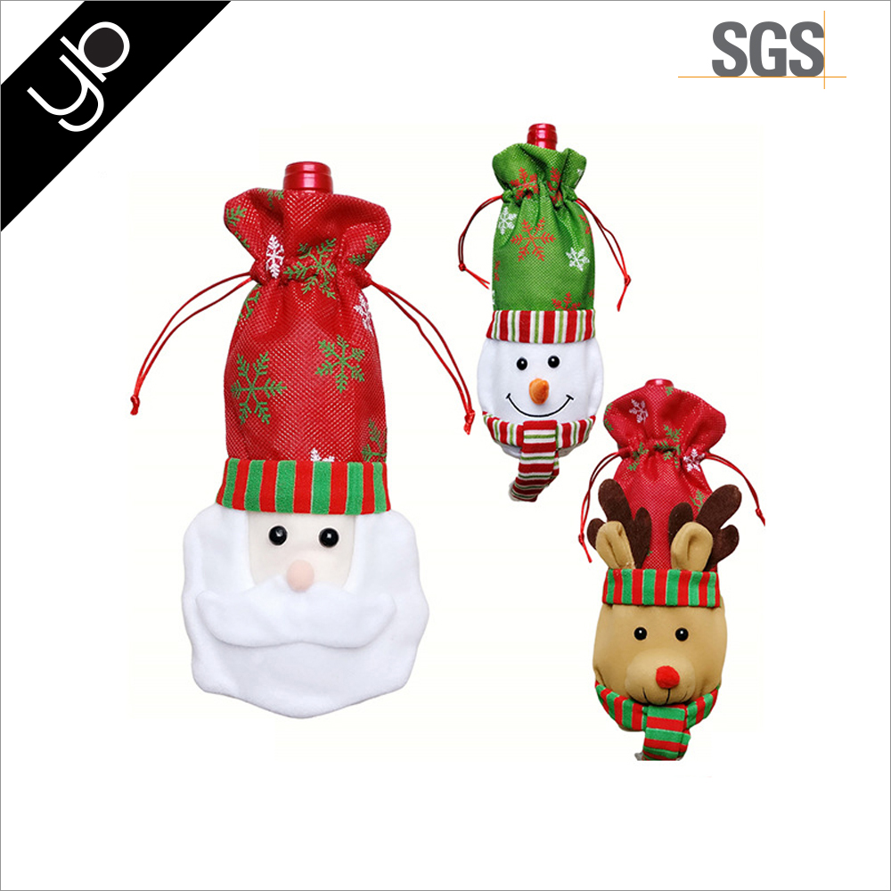 Christmas Ornaments Santa Claus Red Wine Bottle Bag Red Wine Bottle Cover Celebrate Festive Decorations