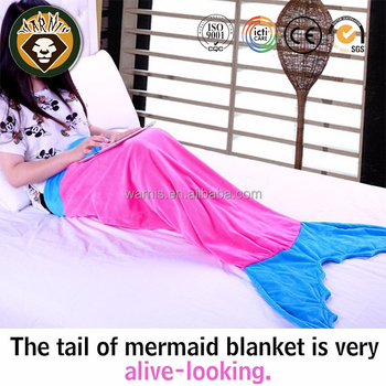 Mermaid Tail Blanket for Adult Super Soft Warm Fuzzy Lightweight Fleece Blanket Summer Sleeping Bags(Pink/Blue)