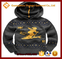 Children kids argyle plaid print skiing print 9GG hooded pullover sweater