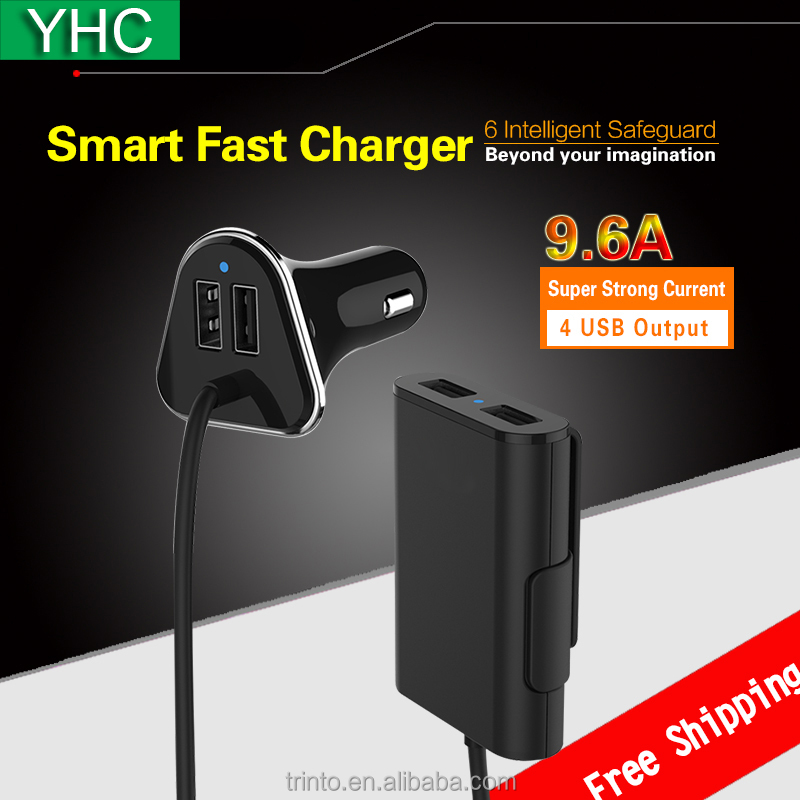 Special Design 4 USB 9.6A <strong>Passenger</strong> Car Charger Mobile Accesories with 1.8m Cable and USB Hub for Phones/Tablets
