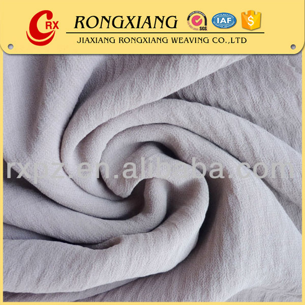 Fashion Woven polyester pure silk crinkle chiffon fabric