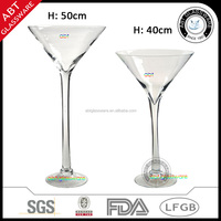 Nice quality tall long stem clear martini glass vase