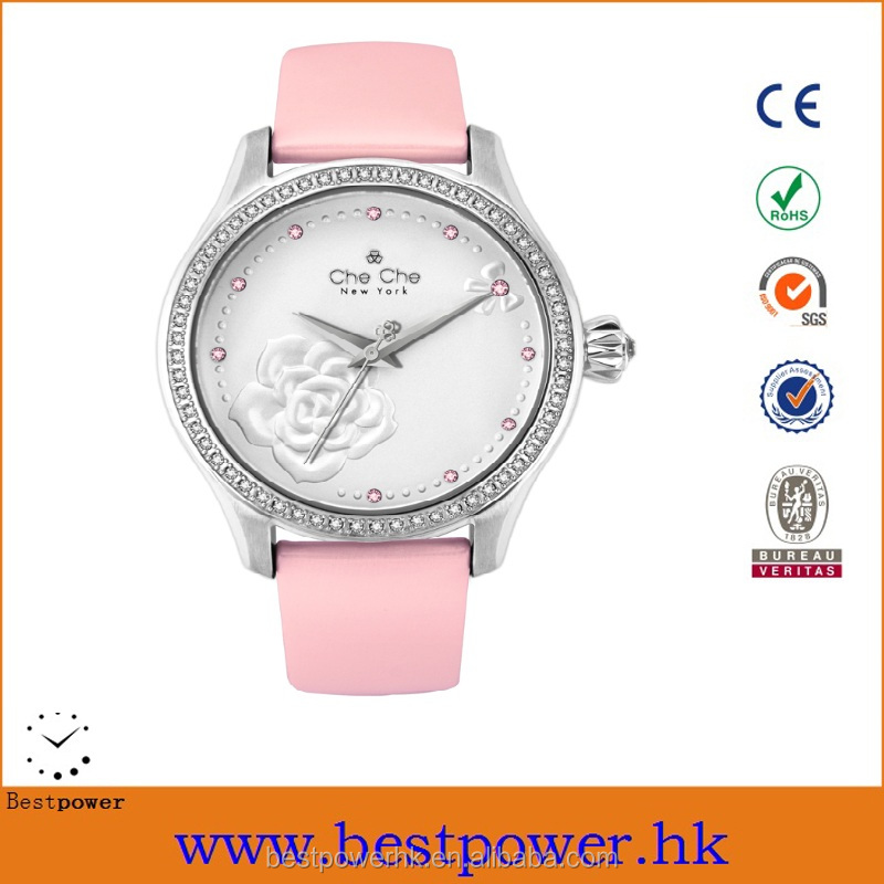 Luxurious Genuine leather band ladies wrist watch