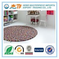 100% wool felt ball rug