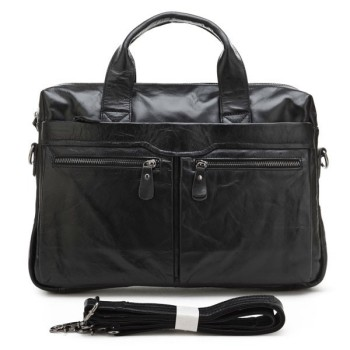 7122A Hot Sale High Quality Drop Shipping Top Grade Multifunctional Fashion Black Leather Messenger Bag