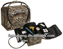 Portable Leopard Leather Cosmetic Hangbag Makeup Case