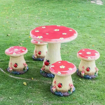 garden decoration table and chair Outdoor Mushroom Furniture Set