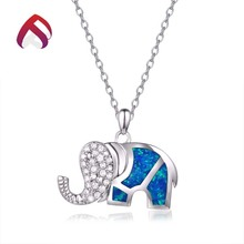 Trade Assurance fashion elephant silver jewelry blue synthetic opal stone pendant