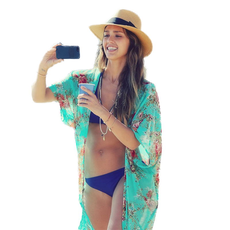 3ffba723bcbf9 Buy 2015 Hot Summer Fashion Women Beach Cover Up Sexy Swimsuit Bathing Suit  Cover Ups Kaftan Floral Kimono Cardigan Beachwear LYP in Cheap Price on ...