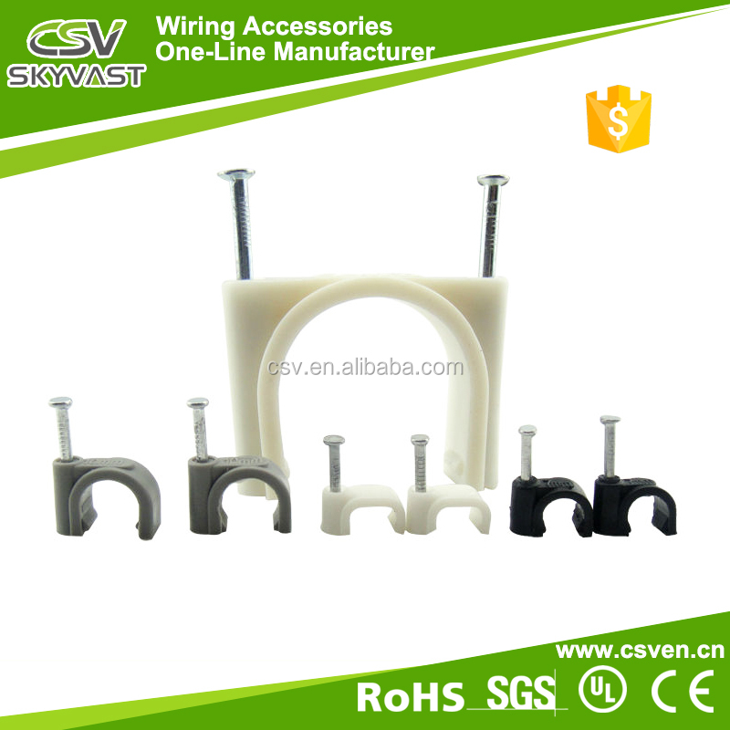 Free samples round white black plastic flat nail cable clamp 4mm wire mounting clip pe wire clamp