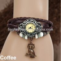 Wholesale High Quality Quartz Ladies Weave Wrap Leather Vintage Bracelet Watch