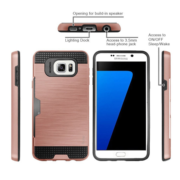 C&T Hard slim shockproof credit card holder wallet Mobile Phone Case Cover for Galaxy s7