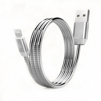 Hot product mobile phone cable metal spring USB cable for Iphone for Samsung