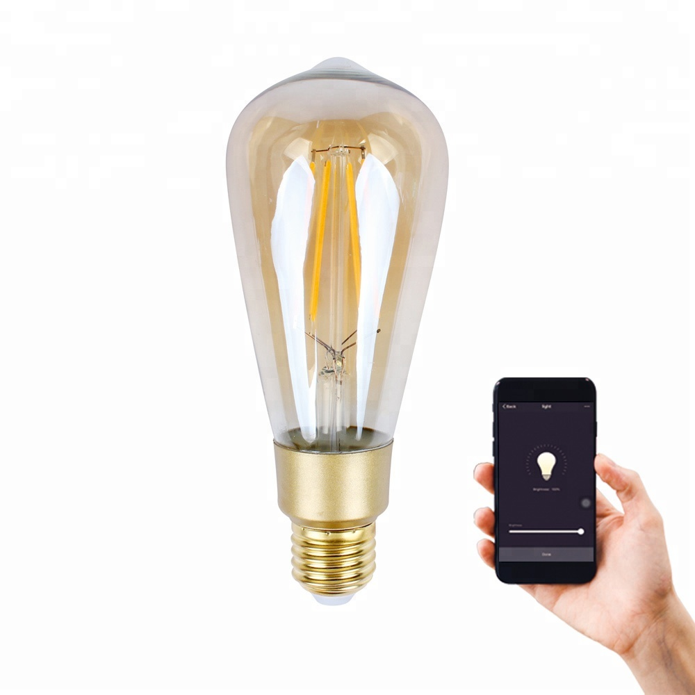 New Wifi Smart <strong>bulb</strong> Amazon Alexa /Google Home Voice Control A19 ST64 E26 Dimmable Filament <strong>Bulb</strong>