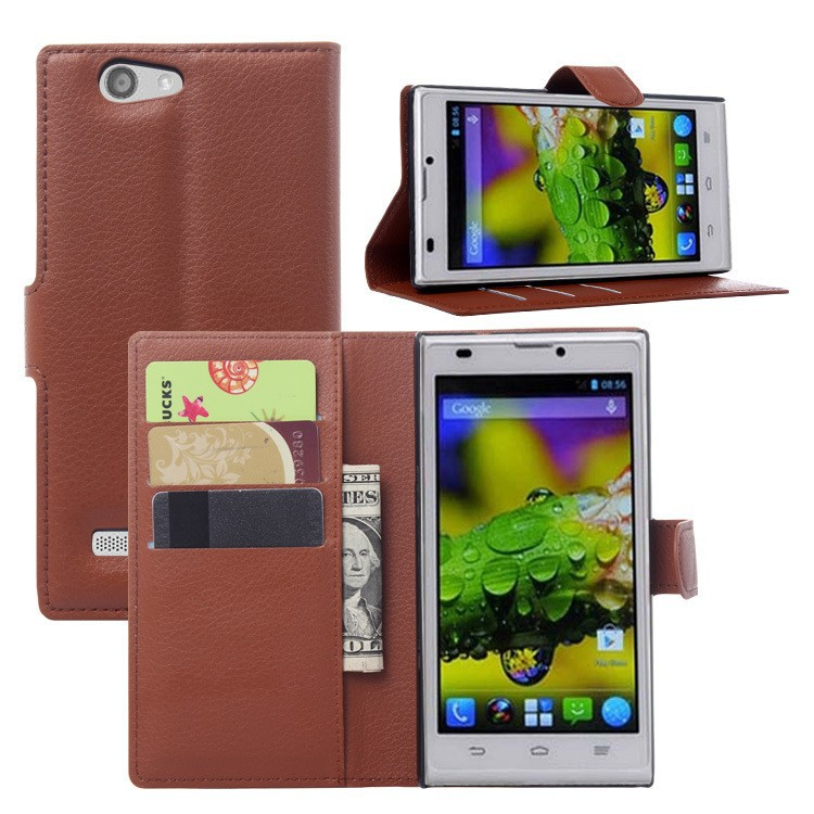 Brown Color Litchee Pattern PU Leather Stand Wallet Leather Case for ZTE BLADE <strong>L2</strong>
