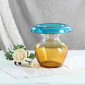 Popular two kinds of color slanted bowl flower glass vase with wide mouth vase