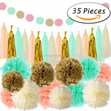35 Pcs Mint Gold Tissue Pom Poms Paper Flowers Tissue Tassel Paper Garland for Baby Shower Party Decorations