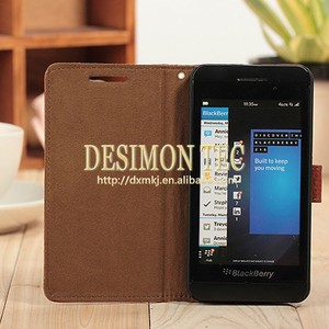 Promotional flip leather cute case for Blackberry Z10 with OEM services