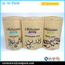 Custom printed kraft paper bags food grade for nuts packing