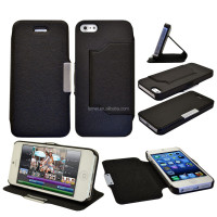 PU Leather Book Style Flip Phone Stand Case Cover For APPLE IPHONE 5